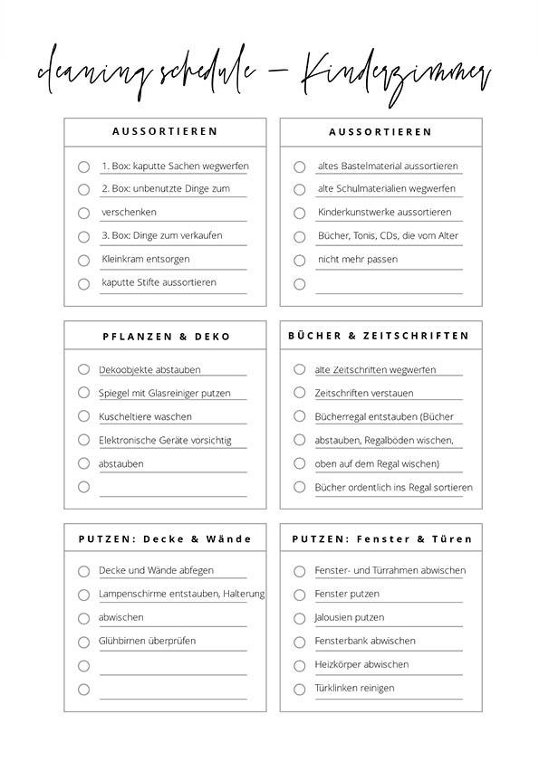 putz Kinderzimmer Checkliste