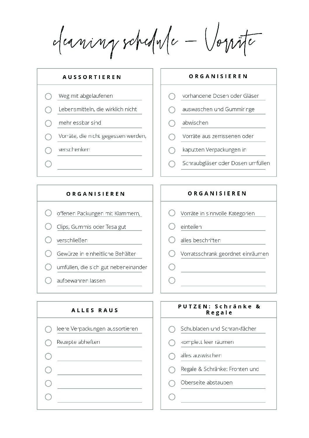 Checklisten & Cheatsheets   ordnungsliebe